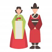 Korea Vector Korean Characters Culture Traditional Symbols Sightseeing Landmark Traveling In South I poster