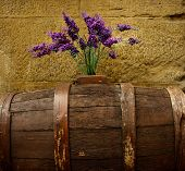 Purple flowers on old barrel.