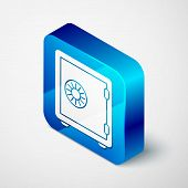 Isometric Safe Icon Isolated On White Background. The Door Safe A Bank Vault With A Combination Lock poster