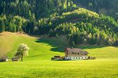 Countryside Landscape. Farm House In Countryside Landscape. Alpine Countryside Landscape. Landscape  poster