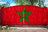 Close-up Of The National Flag Of Morocco On A Wooden Gate At The Entrance To The Closed Territory On poster