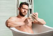 Relaxed Guy Reading Book While Relaxing In Hot Bath. Relax At Home. Total Relaxation. Personal Hygie poster