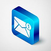Isometric Envelope Icon Isolated On White Background. Received Message Concept. New, Email Incoming  poster