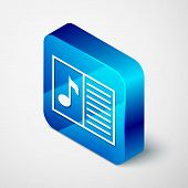 Isometric Music Book With Note Icon Isolated On White Background. Music Sheet With Note Stave. Noteb poster