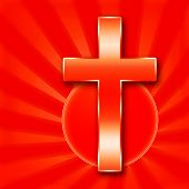 stock photo of sanctification  - Christaian Holy Cross illustration on red background - JPG