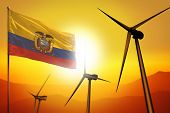 Ecuador Wind Energy, Alternative Energy Environment Concept With Turbines And Flag On Sunset - Alter poster