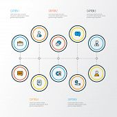 Job Icons Colored Line Set With Job Seeker, Selection, Briefcase And Other Ask Elements. Isolated Ve poster