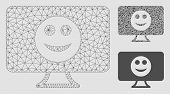 Mesh Display Smile Model With Triangle Mosaic Icon. Wire Frame Polygonal Mesh Of Display Smile. Vect poster