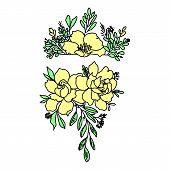 Graphical Black Flower Illustration. Black Flower, Contour Flower, Bloom Flower, Decorative Flower,  poster