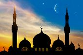 Arabic, Asia, Background, Beautiful, City, Crescent, Culture, Dark, Dome, Dusk, East, Eastern, Eveni poster