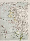 Aegean islands and Turkish coast old historical map. By Paul Vidal de Lablache, Atlas Classique, Lib