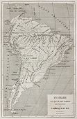 French explorer Paul Marcoy itinerary along Amazon river, old map. Created by Erhard, published on L