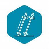 Ski Sticks Icon. Outline Ski Sticks Vector Icon For Web Design Isolated On White Background poster