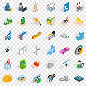 Concern Icons Set. Isometric Style Of 36 Concern Vector Icons For Web For Any Design poster