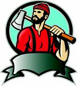 stock photo of ax  - Illustration of a lumberjack forester logger carrying an ax looking up with scroll done in retro style - JPG
