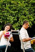 Ethnic College Students Read Books