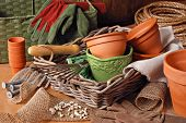Gardening still life with flower pots, gardening tools, and planting supplies in wicker baskets with