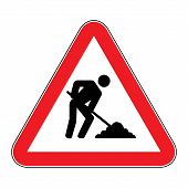 Under Construction Sign.under Construction Sign On White Background Drawing By Illustration poster