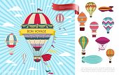 Flat Air Voyage Colorful Concept With Hot Air Balloons Flying In Clouds On Blue Radial Background Ve poster