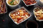 Chinese Takeaway Food. Pork Wonton Dumpling Soup, Crispy Shredded Beef, Sweet And Sour Pineapple Chi poster