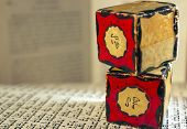pic of phylacteries  - Two tefillin amulets atop a prayer book.