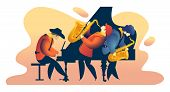 Classic Music Festival Jazz Rock Concert, Jazz Band Vertical Vector Illustration Banner, Orchestra O poster