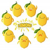 Set Cut Lemon Characters. Cute Fruit Vector Characters Isolated On White Background poster