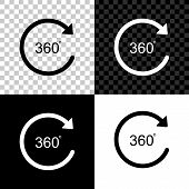 Angle 360 Degrees Icon Isolated On Black, White And Transparent Background. Rotation Of 360 Degrees. poster