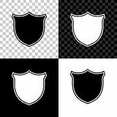 Shield Security Icon Isolated On Black, White And Transparent Background. Protection, Safety, Securi poster