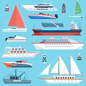 Ships Boats Flat. Maritime Transport, Ocean Cruise Liner Ship, Yacht With Sail. Large Sea Vessels Ca poster