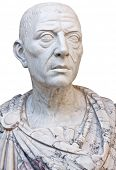 Ancient mable statue of the roman emperor Julius Caesar isolated on a white background with clipping