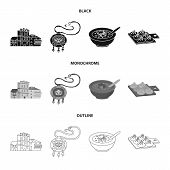Vector Illustration Of Culture And Sightseeing Logo. Set Of Culture And Originality Stock Symbol For poster