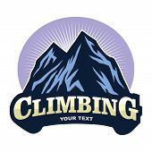 Logo For Mountain Climbing Adventure , Camping, Expedition. Vintage Vector Logo And Labels, Icon Tem poster