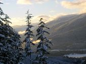 Last Rays Of Sun Over Whistler Valley