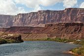 A reservation of Indians of the Navajo, the USA. Magnificent cold water the river Colorado in abrup