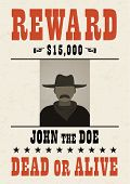 Old Wanted Dead Or Alive Poster With Flat Male Avatar. poster