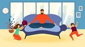 Cartoon Man Meditate On Sofa, Children Play Game Indoors Living Room Vector Illustration. Tired Fath poster