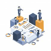 Isometric Vector Illustration. The Concept Of Business Auditing. Analysis Of Statistics, Management, poster