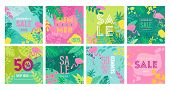 Set Of Summer Sale Poster With Tropic Leaves, Flowers, Flamingoes, Advertisement Banner And Tropical poster