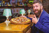 Hipster Hungry Eat Italian Pizza. Pizza Favorite Restaurant Food. Fresh Hot Pizza For Dinner. Hipste poster