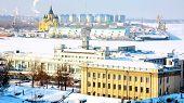 Постер, плакат: Февраля вид порта «стрелка» Нижний Новгород Россия