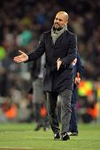 BARCELONA - FEB 19: Josep Guardiola of FC Barcelona shows his disappointment during the Spanish leag