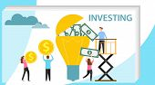 Investing In An Idea. A Group Of People Investing Money In A Lamp. Cash Investment. Vector Illustrat poster