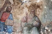 Unique Fresco Holy Trinity: Father, Son, Holy Spirit (dove), Temple Of Archangel Michael, 19th Centu poster