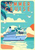 Art Deco Cruise Ship Vector Illustration. Passenger Liner In Ocean. poster