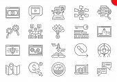 Seo Line Icons Set. Seo Related Vector Line Icons. Website And App Design And Development. Simple Mo poster