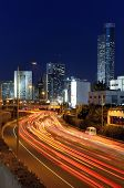 Skyline of Ramat Gan and the Ayalon Highway, the Financial District near Tel Aviv, Isreal.