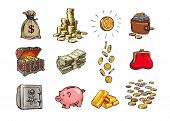 Cartoon Finance Money Set. Sack Of Dollars, Stack Of Coins, Coin With Dollar Sign, Treasure Chest, S poster