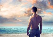 Rear view of a handsome bare-chested young man at the seaside