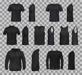 Women Clothes Black Templates And Sportswear Apparel 3d Realistic Mockup Models. Vector Isolated T-s poster